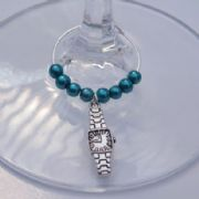Watch Wine Glass Charm - Beaded Style